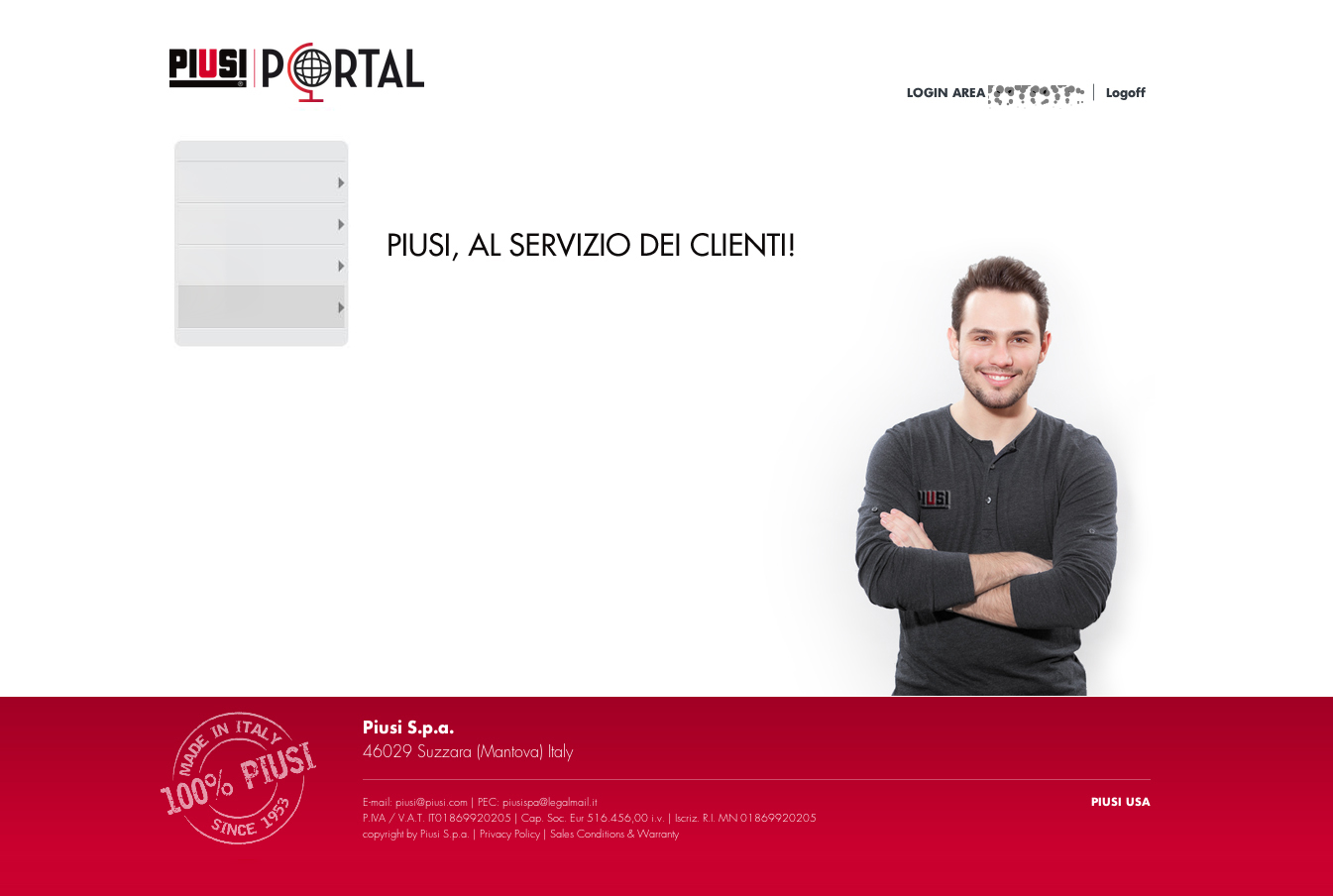 Piusi welcome page