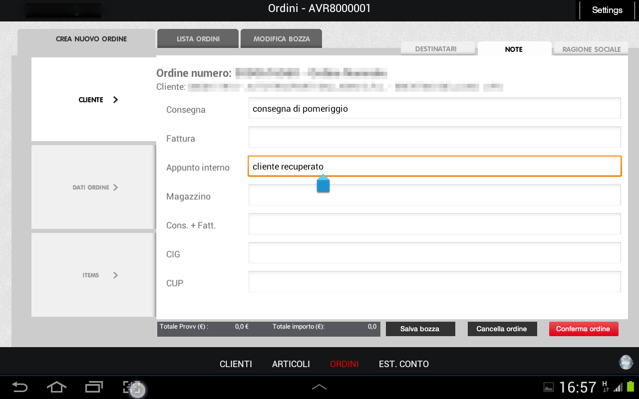 App raccolta ordini Android